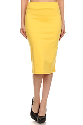 Simlu Women's Below the Knee Pencil Skirt for Office Wear - Made in USA, Yellow, Medium