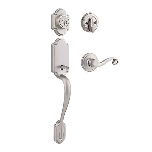 Kwikset Arlington Single Cylinder Handleset w/Lido Lever featuring SmartKey in Satin Nickel