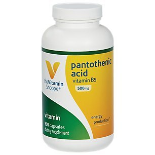 The Vitamin Shoppe Pantothenic Acid 500MG, with Vitamin B5, Supports Energy Production Hair, Skin, Nails, Once Daily (300 Capsules)