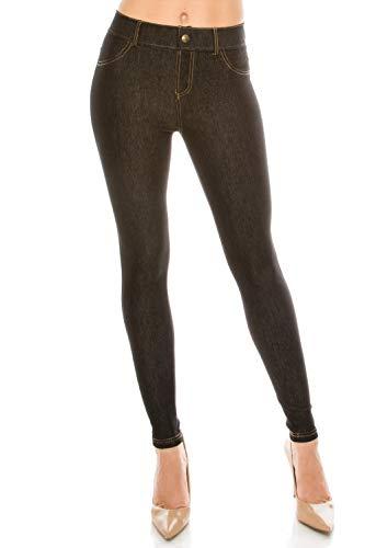 ALWAYS Women Denim Jeggings Pants - Form Fitting Mid Rise Slim Skinny Stretch Jean Leggings Trousers Black ()