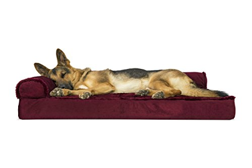 Furhaven Pet Dog Bed | Deluxe Orthopedic Plush Faux Fur & Velvet L Shaped Corner Chaise Lounge Sofa-Style Living Room Couch Pet Bed for Dogs & Cats, Merlot Red, Jumbo