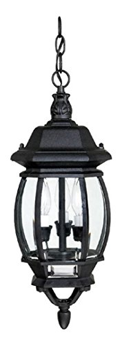 Black French Country 3 Light Outdoor Mini Lantern Pendant - French Outdoor Lantern