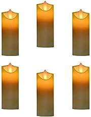 عبوة بها 6 قطع من مصابيح الشمع، إضاءة ليد زاهية بدون لهب لتزيين الحفلات والمنازل والاحتفالات السنوية لشهر العسل (البطارية غير متضمنة)