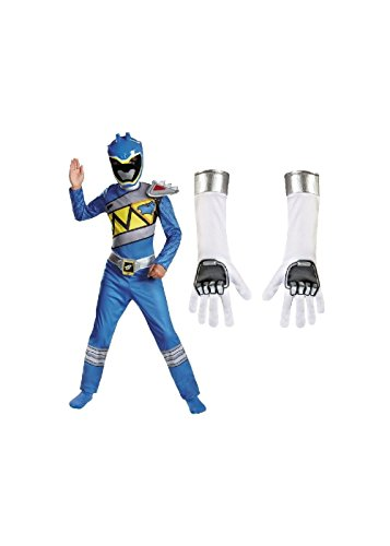 Wonder Costumes Blue Power Rangers Dino Charge Boys Costume and Gloves Set (Medium (Child Blue Ranger Gloves)