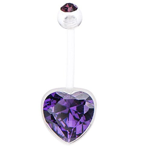 Pierced Owl Bioflex Crystal Heart Gem Pregnancy/Maternity Belly Button Ring (Clear/Purple)