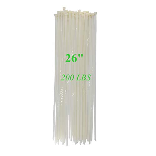 - Long Heavy Duty 26 Inch Nylon Zip Cable Ties Clear-Large 200 LBS Tensile Strength-Heavy Duty Industrial Durable Strong Cable Ties- 50 Pack - Indoor Outdoor Garden Ties Use(26
