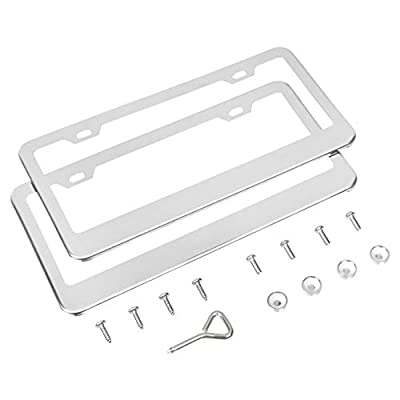 Basics Stainless Steel License Plate Frame Pair with Screw Caps - 2-Hole, 12.2'' x 6.3'', Silver: Automotive