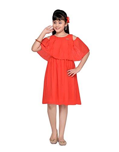 Georgette One Shoulder Dress - Hunny Bunny Little Girls' Plain Georgette Cold Shoulder Knee Length Dress 1-2 Years Red
