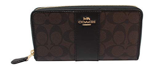 Purse Accordion Wallet (Coach F54630 Signature PVC Leather Accordion Zip Wallet Brown Black)