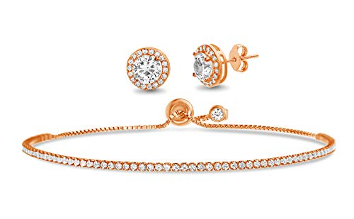 Devin Rose 2-3/8 Cttw Round Stud Earring for Women and Adjustable Tennis Bracelet for Women Set in Rose Gold Plated 925 Sterling Silver made with Swarovski Crystal (Pink)