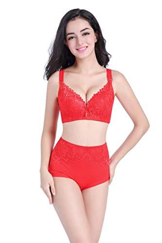 Lace Lingerie Set Plus Size Push Up Lace Intimate Women Underwear Bra Set Bra Brief (Patio Inn)