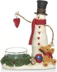 Yankee Candle Snowman Tea Light Holder with Teddy Bear