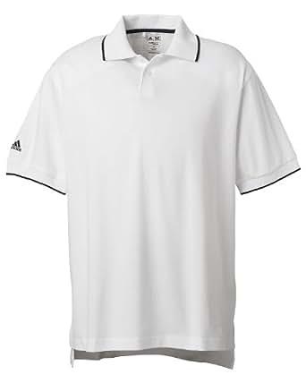 adidas Golf Mens ClimaLite Tour Jersey Short-Sleeve Polo - WHITE/BLACK - SMALL