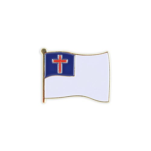 Pin Flag Gold Lapel Plated (Christian Flag Gold Plated Enamel Diestruck Lapel Pin– 1 Pin)