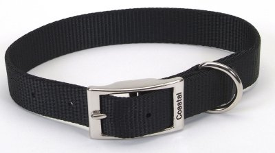 Coastal Pet Products DCP90120BLK Nylon Single Dog Collar, 1 by 20-Inch, Black