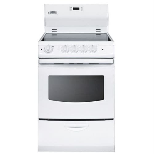 Summit FBA_REX242W Pearl 24'' 3 Cu.Ft. Electric Range with Glass Cooktop, Storage Drawer, Exterior, White by Summit