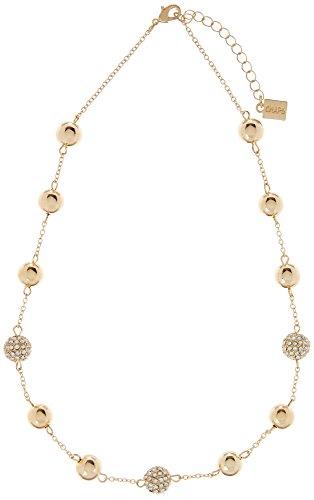 Rhinestone Chaps (Chaps Gold Tone & Rhinestone Pave Beads Necklace One Size Gold tone)