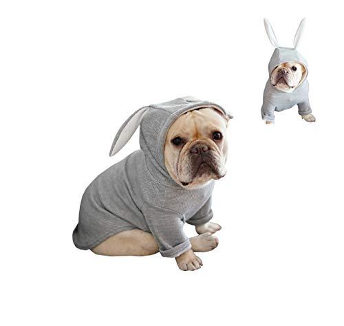 Khemn 丨Bulldog Custom-Clothing丨Bulldog Rabbit Costume, Dog Fashion Rabbit-Ear Hoodie for French Bulldog/English Bulldog/American Pit Bull Terrier/Pug (Pink, Grey) (XL, Grey)