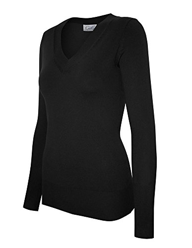 Cielo Women's Solid Basic Soft V-neck Stretch Pullover Knit Sweater Black M