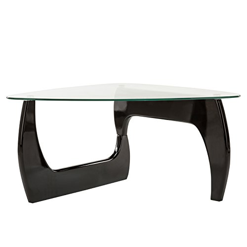 Black Oval Base (Nurxiovo Glass Coffee Table Side End Table Living Room Furniture Black)