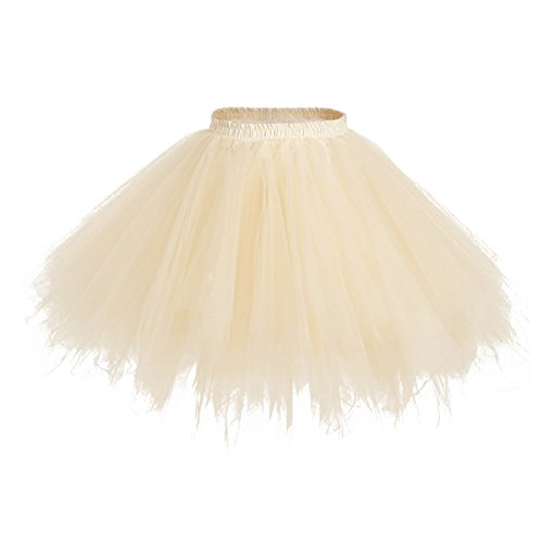 1950s Party Costume Ideas (Apiidoo Women's Ballet Bubble Tutu Costume Vintage Petticoat Layered Dance Skirt Champagne)