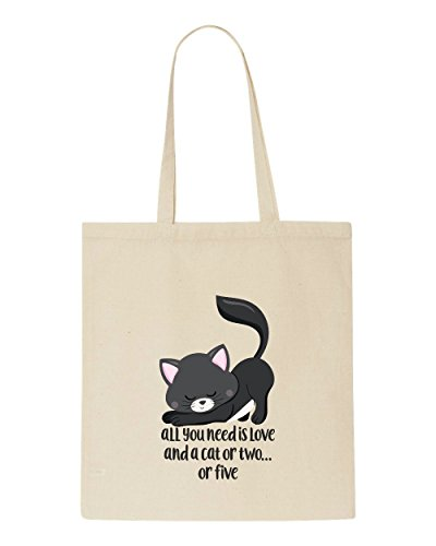 Tote Is You A Cute Or Funny All Cat Shopper Two Statement Five Bag Need Beige Love And 3 AIEpqpS6nx