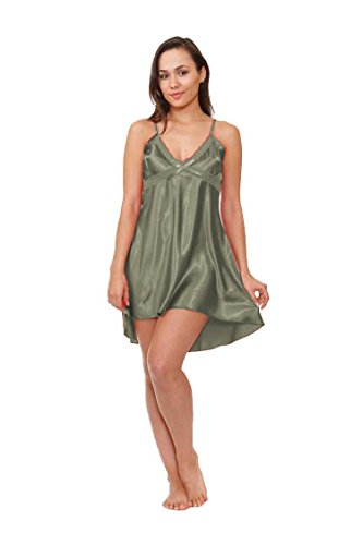 Women's Satin Chemise, High/low Design, Up2date Fashion Style#Che-03 (L, Metallic Grey)