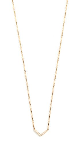 EF Collection Women's 14k Gold Diamond Mini Chevron Necklace, Gold/Diamond, One Size