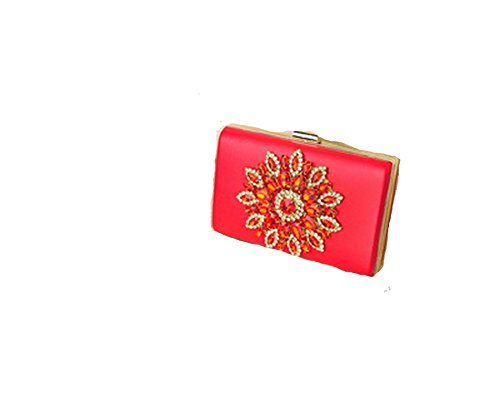 Women Flower Rhinestones Red Black Purple Gold Chain Shoulder Bags Metal Day Clutches Wallets,red