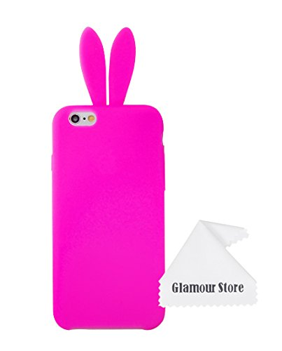 new style dfe85 6a7b1 iPhone 6 Case,Cute Lovely Rabbit Silicone Bunny Case Cover Protector For  Apple iPhone 6 6G 4.7 inch with Furry Tail With Free Cleaning Cloth As a  Gift ...