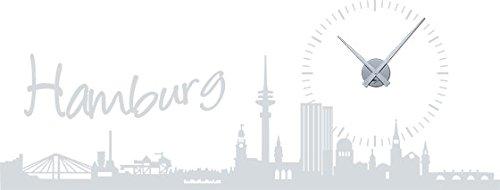 GRAZDesign 800234_SI_072 Wandtattoo Wanduhr Skyline Hamburg mit Sonne als Uhr für Ihr Wohnzimmer (150x57cm//072 Hellgrau//Uhrwerk Silber)