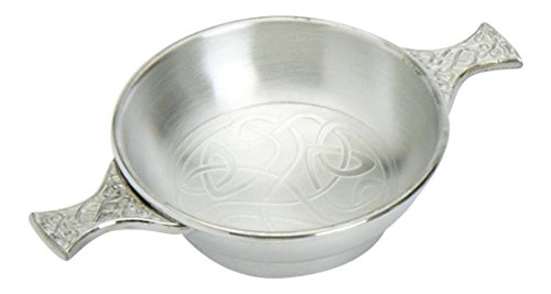 Edwin Blyde & Co Traditional Scottish 4 Inch Pewter Toasting Quaich with Celtic Scroll Work Base and Handles