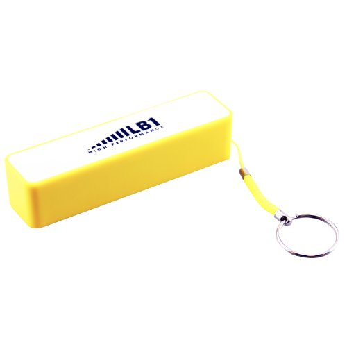 LB1 High Performance New 2200mAh Brilliant Ultra Slim Portable Power Bank External Battery Charger for iPhone iPad Samsumg Galaxy Huawei Smartphone Tablets Pc Bluetooth Speaker with Key Chain (Yellow)