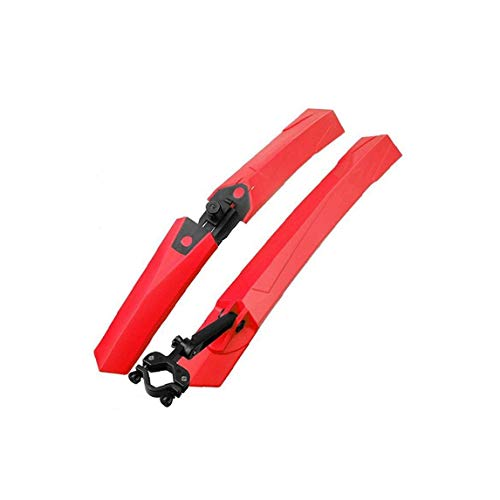 1 Set Bike Fenders Set Front Rear Mud Guard Tire Mud Flaps Fender Folding Quick Release Clip-On Splashboard Protector for Mountain Bike Bicycle-Red