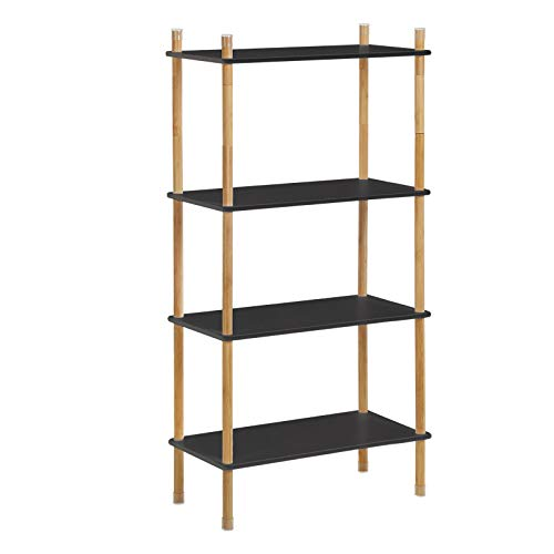 Black Shelf Natural - VASAGLE Storage Rack, 4-Tier Standing Shelf with Bamboo Legs, Expandable Bookshelf with Adjustable Height, Ideal for Living Room, Bathroom, Kitchen, Black and Natural Grain ULUS104BN