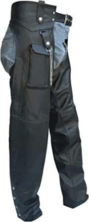 Mens Lined Genuine Cowhide Leather Motorcycle Chaps with Cargo Pocket and YKK silver hardware