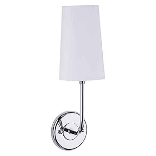 Forma Wall Sconce Light Fixture - Chrome with Fabric Shade - Linea di Liara -