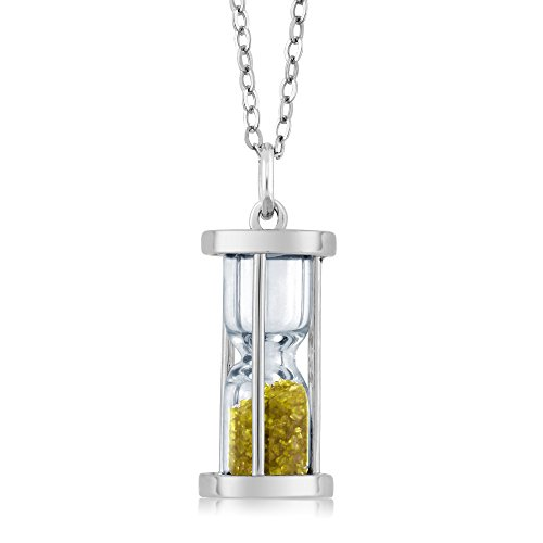 925 Silver Hourglass Pendant with 0.75 Ct Genuine Citrine Dust 18