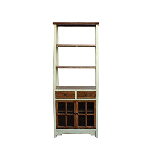 - Oriental Cream White Brown Glass Door China Bookcase Cabinet Acs4173