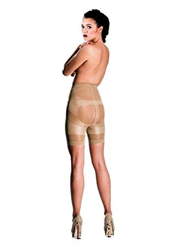 Damen Schlüpfer Miederhose Push Up Unterhose Shapewear mit Bauch Weg Effekt Unterwäsche Panty, Formt einen Perfekten und Runden Hintern 140 DEN Hautfarbe Beige