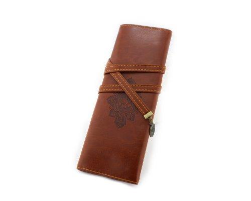 BONAMART New Vintage Style PU Leather Pencil Pen Case Cosmetic Makeup Bag Pouch Pocket