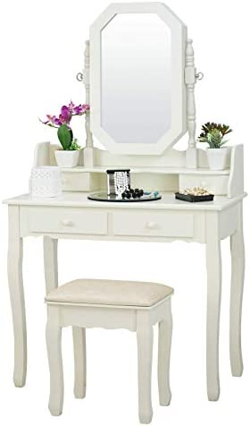 Fineboard Vanity Table Set with Stool and Jewelry Organizer Cabinet with 4 Drawers, White