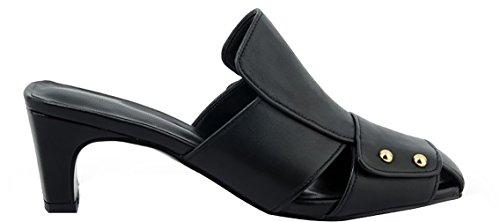 Calaier Kvinners Tuoxia Kvadrat-tå 5.5cm Blokk Hæl Slip-on Slippers Sko Sorte