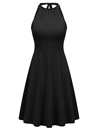FENSACE Off Shoulder Casual Flare Beach LBD Dresses for Women Black