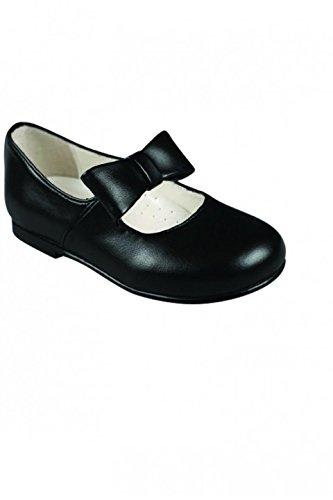 4b33e91598ed5 Chaussure Cérémonie Bébé bride noeud semi-ouverte cuir noire - Noir - P-20