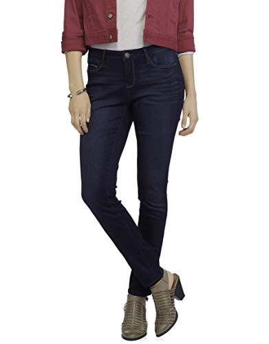 Faded Glory Women's Skinny Core Denim Midrise Jeans with Super 4-Way Stretch Fabric (Dark Wash, Size 4 Petite) from Faded Glory