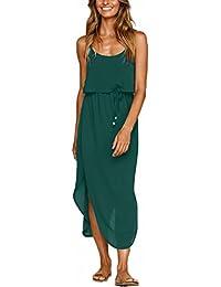 Women's Adjustable Strappy Split Autumn Beach Casual Midi Dress