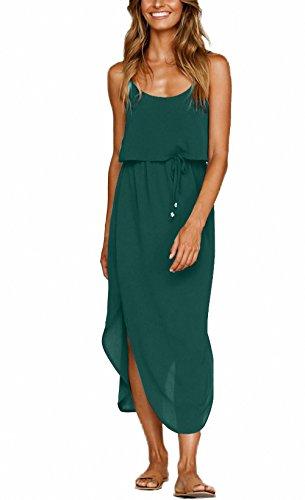 NERLEROLIAN Women's Adjustable Strappy Split Summer Beach Casual Midi Dress(molv,L) Dark -