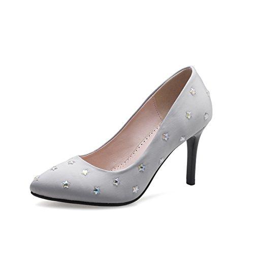 MEI&S Stiletto Femmes Hauts Talons Chaussures Chaussures Bouche Peu Profonde Grey YAcvFS