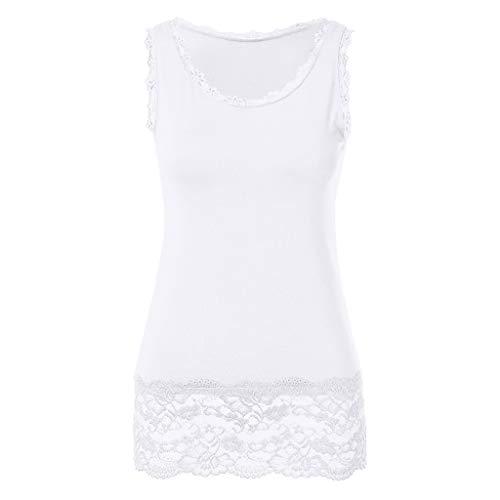Sunhusing Ladies Lace Stitching Sleeveless Vest with Lace Trim Hem Embellished Beach Tank Top Shirt White